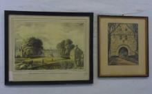 2 Framed Etchings Hotel and College William & Mary