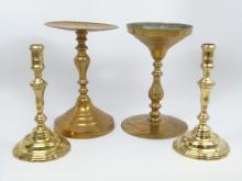 Four Antique English Victorian Brass Candlesticks
