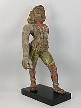 A WOODEN SCULPTURE OF KRISHNA,