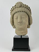 A SPLENDID GANDHARAN STUCCO HEAD OF A BODHISATTVA,