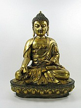 A MING STYLE  COPPER ALLOY CAST OF BUDDHA,
