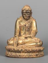 Antique 19th Century Burmese Seated Shan Gold Gilt Buddha