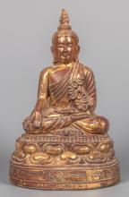Antique 19th Century Burmese Seated Mandalay Gold Gilt Hollow Lacquer Buddha