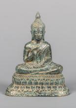 Seated Khmer Bronze Buddha in Teaching Mudra