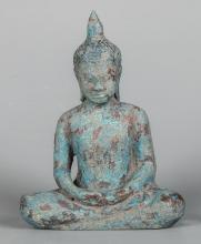 Seated Antique Khmer Bronze Buddha in Meditation Mudra
