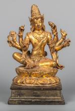 Seated Bronze and Gold Gilt Shiva