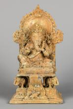 Enthroned Bronze Indian Kashmir Style Ganesha Altar