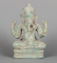 Seated Bronze Khmer Style Ganesha