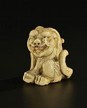 Tigre netsuke en ivoire Japon époque Meiji h. 4 cm