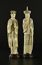 Couple impérial en ivoire Chine époque République