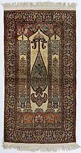 Tapis de prière Cachemire en soie à décor d'un cyp
