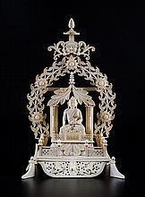 Rare autel du Bouddha en ivoire Ceylan (Sri lanka)