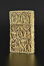 Boîte à cartes de visite en ivoire sculpté Canton