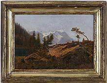 Gabriel LOPPÉ (1825-1913) Lac de montagne vue sur