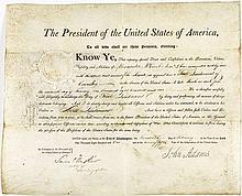 John ADAMS (1735-1826). 2 brevets ...