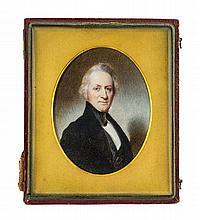 Portrait en buste miniature sur ivoire ...