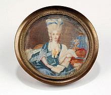 Miniature ronde sur ivoire   XIXe ...