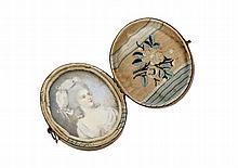 Miniature ovale sur ivoire   XIXe ...