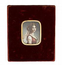 Miniature sur ivoire XIXe s représentant ...