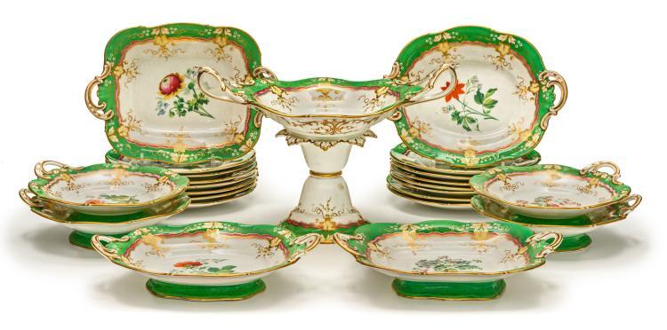Partie de service à dessert en porcelaine de Staffordshire, peut-être par Samuel Alcock, vers 1845, 25 pièces