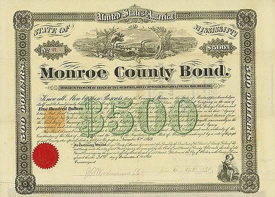 Monroe County - Memphis, Holly Springs, Okolona and Selma Railroad Co.