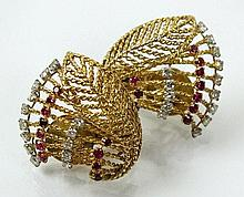 A pair of Gaucherand ruby and diamond set clip