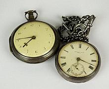 A George III silver pair case fusee Pocket Watch,