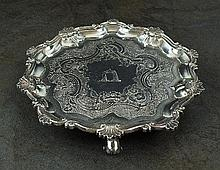 A William IV silver card waiter, William Hewitt,