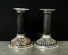 A pair of Victorian silver mounted tortoiseshell
