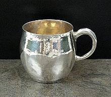 A hammered silver Christening mug, Crichton