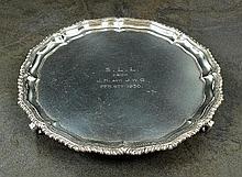 A small silver salver, C S Harris & Sons Ltd,