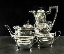 A four piece silver tea service, Fenton Brothers