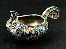 A Russian silver and cloisonné enamel kovsh, of