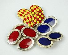 Three pairs of 9ct gold and enamel cufflinks,