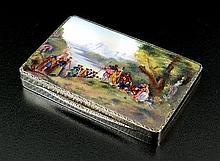 A continental silver and enamel box, import mark
