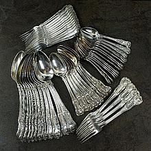 A matched set of Kings and Queens pattern silver