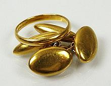 A pair of yellow metal navette shaped cufflnks,