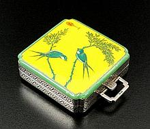 A continental silver and enamel cased travelling
