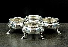 A set of three George II silver salts, probably
