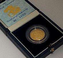 An Elizabeth II proof half sovereign, dated 1988,