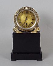 A Regency drum timepiece, the 3 1/2 inch brass