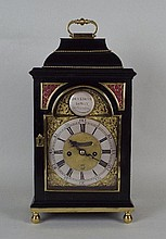 An 18th century English ebonised bracket clock ,