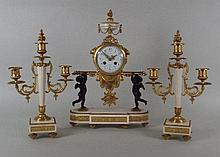 A 19th century Louis XVI style clock garniture