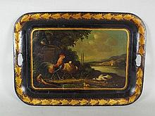 A 19th century rectangular tole ware two handled