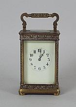 A late 19th century brass carriage clock, the