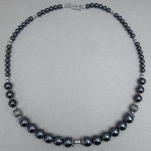 Hematite 18.50 Inches Long Sterling Silver Beads Necklace