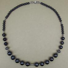 Hematite 17.50 Inches Long Sterling Silver Beads Necklace