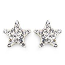 White Crystal Sterling Silver Star Shape Earrings