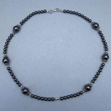 Hematite 18.00 Inches Long Sterling Silver Beads Necklace