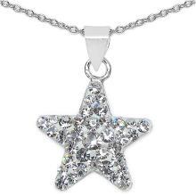 White Crystal Sterling Silver Star Shape Pendant